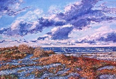Beach scene with rolling clouds
