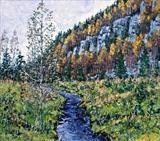 Autumn beck by Steen Lersten Petterson, Painting, Oil on Board