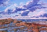 Beach scene with rolling clouds by Steen Lersten Petterson, Painting, Acrylic on canvas