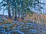 Blue Anemones - Evening Sun by Steen Lersten Petterson, Painting, Oil on canvas