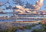 Evening Beach by Steen Lersten Petterson, Painting, Oil on Paper