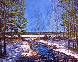 Late winter sun - snow melting by Steen Lersten Petterson, Painting, Acrylic on canvas