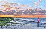 My Wife Watching The Setting Sun by Steen Lersten Petterson, Painting, Oil on canvas