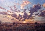 October Sunset by Steen Lersten Petterson, Painting, Oil on Paper