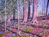 Spring Anemones - The Blue Ones by Steen Lersten Petterson, Painting, Oil on canvas