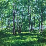 Summer Birch Grove by Steen Lersten Petterson, Painting, Acrylic on canvas