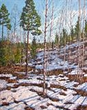 The last snow by Steen Lersten Petterson, Painting, Acrylic on canvas