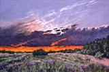 Thistles and Sunset by Steen Lersten Petterson, Painting, Oil on Paper