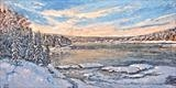 Winter River Light by Steen Lersten Petterson, Painting, Oil on canvas