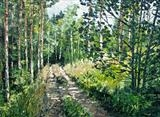 Woodland tracks by Steen Lersten Petterson, Painting, Oil on Board