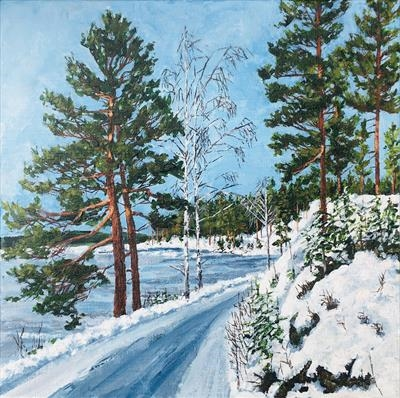 A walk along Lake Vortungen a freezing winter morning by Steen Lersten Petterson, Painting, Acrylic on canvas