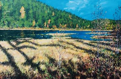 Autumn shadows near Sagtjenn by Steen Lersten Petterson, Painting, Acrylic on canvas