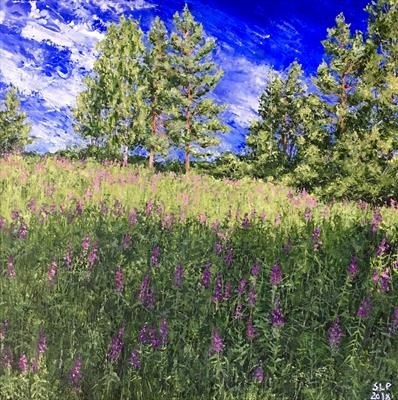 Fireweed behind our house by Steen Lersten Petterson, Painting, Acrylic on canvas