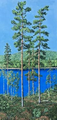 I love the tall slender pines that glow in the morning sun by Steen Lersten Petterson, Painting, Acrylic on canvas
