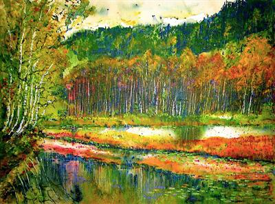 Simply autumn by Steen Lersten Petterson, Painting, Watermedia