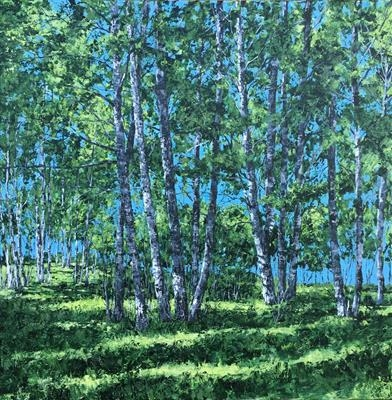"""Summer birches"" by Steen Lersten Petterson, Painting, Acrylic on canvas"