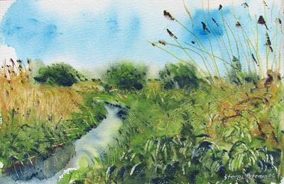 The Lerbeck in may by Steen Lersten Petterson, Painting, Watercolour on Paper
