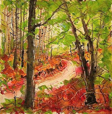 Through the forest by Steen Lersten Petterson, Painting, Watercolour on Paper