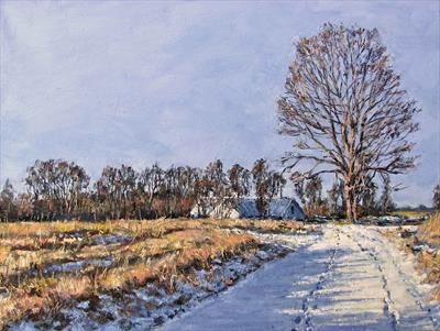 Winter Footprints by Steen Lersten Petterson, Painting, Oil on canvas